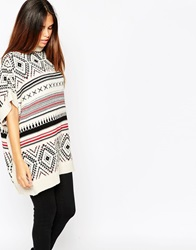 Warehouse Aztec Print High Neck Tunic Multi