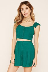 Forever 21 Button Front Crop Top