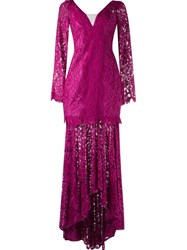 Martha Medeiros Lace Maxi Dress Pink And Purple
