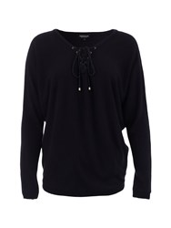 Morgan Knitted Laced Collar Cotton Sweater Black