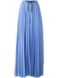 Msgm Pleated Contrast Stripe Palazzo Pants Blue