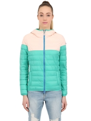 Invicta Quilted Nylon Puffer Jacket Green Pink