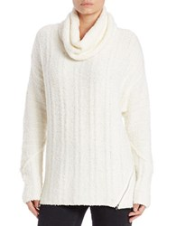 Context Zipper Trimmed Cowlneck Sweater Ivory
