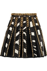 Balmain Embellished Zebra Print Calf Hair Paneled Leather Skirt