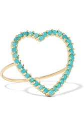 Jennifer Meyer Open Heart 18 Karat Gold Turquoise Ring Gold Turquoise
