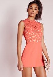 Missguided Lace Top Crepe Playsuit Pink Salmon