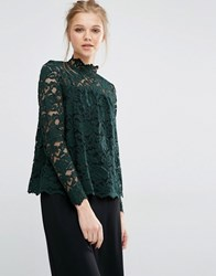 Y.A.S Ella Long Sleeve Lace Top Scarab Green