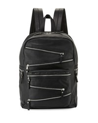 Ash Angel Large Zip Front Leather Backpack Black