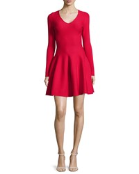 Rvn Long Sleeve Fit And Flare Dress Crimson Red Women's