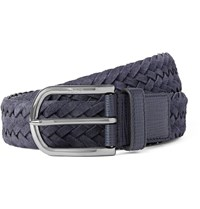Tod's 3.5Cm Navy Woven Suede And Cross Grain Leather Belt