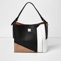 River Island Womens Black Colour Block Slouch Handbag