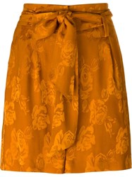 Etro High Waist Floral Shorts Yellow And Orange
