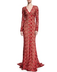 Naeem Khan Long Sleeve V Neck Floral Lace Gown Red
