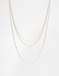 Asos Multirow Fine Chains Necklace With Faux Pearl