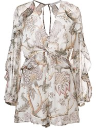 Zimmermann 'Karmic Floral Flounce' Playsuit Nude And Neutrals