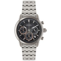 Rotary Gb02876 04 Men's Chronograph Stainless Steel Bracelet Strap Watch Silver Black