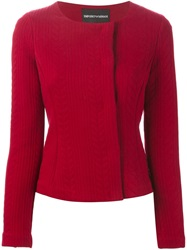 Emporio Armani Cable Effect Fitted Jacket Red