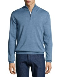 Neiman Marcus Half Zip Wool Blend Cardigan Ink Blue