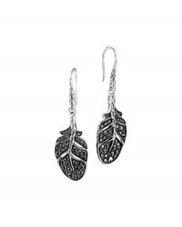 John Hardy Silver Feather Lava Sapphire Drop Earrings Black