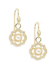Jude Frances 5Mm White Round Freshwater Pearl Diamond And 18K Yellow Gold Empress Drop Earrings