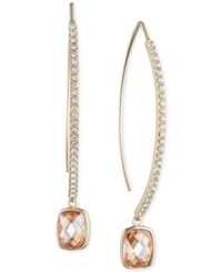 Judith Jack 10K Gold Plated Sterling Silver Pave Champagne Crystal Drop Threader Earrings