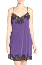 Natori Women's 'Enchant' Chemise Royal Purple Black Lace