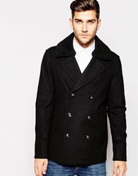 Asos Wool Mix Peacoat With Faux Shearling Collar In Black