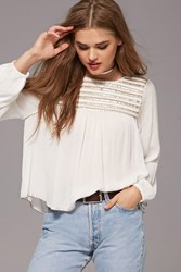 Forever 21 Striped Sequin Peasant Top