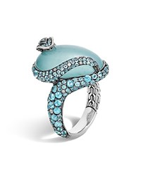 John Hardy Sterling Silver Legends Cobra Milky Aquamarine Ring With Swiss Blue Topaz And Diamonds Blue Silver