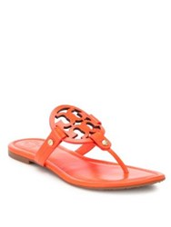 Tory Burch Miller Leather Logo Thong Sandals Poppy Red