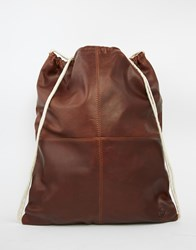 Lyle And Scott Leather Drawstring Backpack Brown
