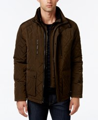Calvin Klein Men's Quilted Stand Collar Jacket Military Green
