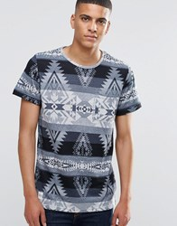 Native Youth Geo Print T Shirt Grey