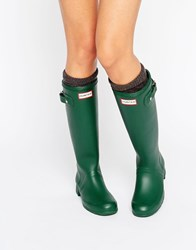Hunter Original Tour Green Collapsable Wellington Boots Green