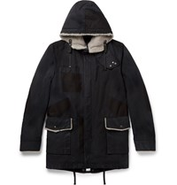 Lanvin Shearling Trimmed Cotton Parka Gray
