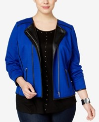 Inc International Concepts Plus Size Piped Moto Jacket Only At Macy's Goddess Blue Black