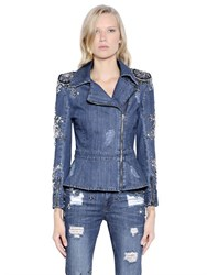 Pat Bo Embellished Cotton Denim Biker Jacket