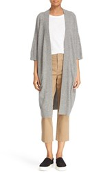 Vince Women's Elbow Sleeve Long Cashmere Cardigan Heather Stone