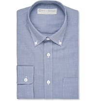 Gieves And Hawkes Button Down Collar Gingham Cotton Shirt Navy