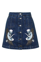 Topshop Moto Denim Embroidered Skirt Mid Stone