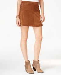 American Rag Faux Suede Side Lace Mini Skirt Only At Macy's Tobacco