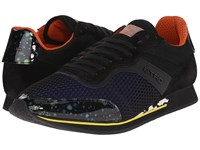 Etro Mesh Overlay Canvas Runner Sneaker Black Blue Black Men's Lace Up Casual Shoes