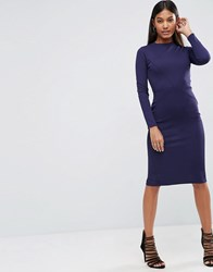 Asos Bodycon Dress With Sexy Seam Detail In Rib Royal Blue