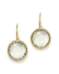 Roberto Coin 18K Yellow Gold Ipanema Round Earrings With Green Amethyst Green Gold