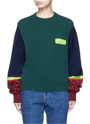 Toga Archives Colorblock Geometric Intarsia Wool Blend Sweater Multi Colour Green
