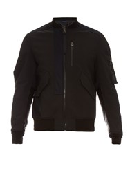 Lanvin Contrast Cotton And Leather Bomber Jacket
