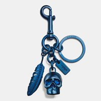 Coach Skull And Feather Key Ring Denim