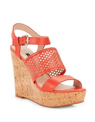 French Connection Devi Perforated Leather Wedge Sandals Lava Red