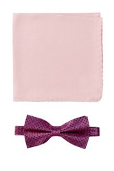 Nicole Miller Silk Natte Bow Tie And Pocket Square Boxed Set Pink