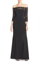 Js Collections Women's Off The Shoulder Lace And Crepe Gown Black